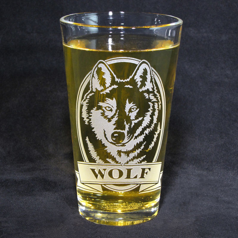 1 Personalized Golden Retriever Pint Glass, Etched Glass Beer Glass - product image