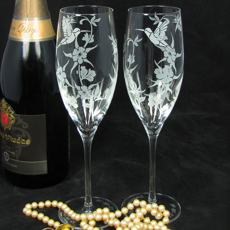 Hummingbird Columbine Champagne Glasses, Wedding Gift for Bride and Groom - product image