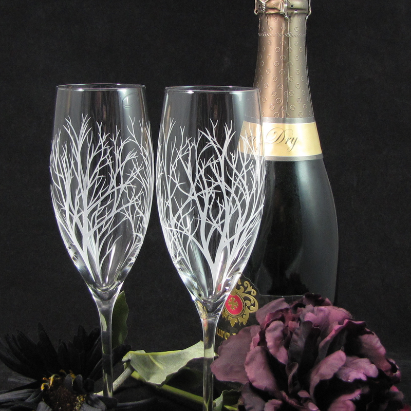 Winter Tree Branch Fine Quality Champagne Flutes, Enchanted Forest Engraved Gift for Couple - product image
