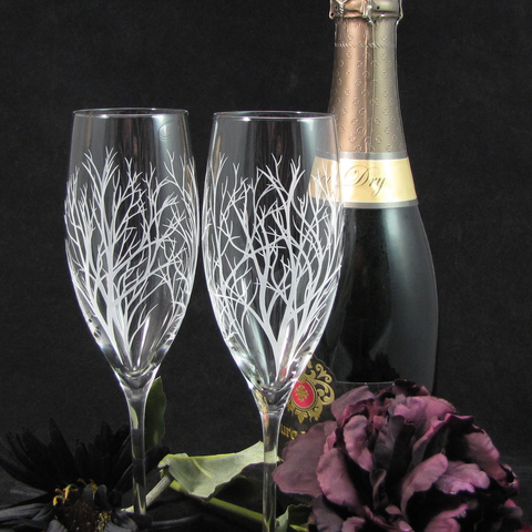 Winter,Tree,Branch,Fine,Quality,Champagne,Flutes,,Enchanted,Forest,Engraved,Gift,for,Couple,tree branch, winter wedding, rustic wedding, enchanted forest,  brad goodell, bradgoodell, the wedding gallery, Weddings,Decoration,personalized,,toasting_flutes,champagne_flutes,champagne_glasses,wedding_flutes,engraved_wedding,personalized_wedding,etche