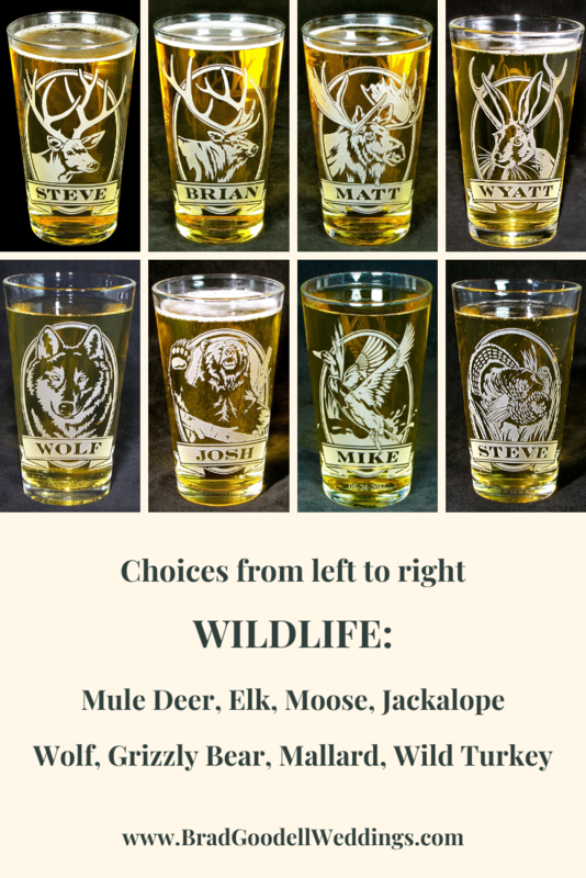1 Personalized Beer Glass with Deer, Etched Glass Pint Glass Gift for Man - product image