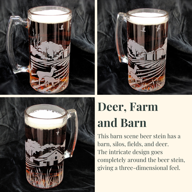 Etched Glass Beer Mug, Duck Migration, Gifts for Groomsman, Best Man Gift - product image