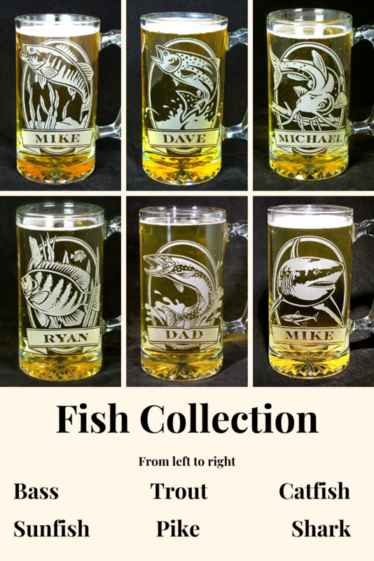 1 Personalized Fish Beer Mug, Etched Glass Trout, Groomsmen Gift for Angler - product image