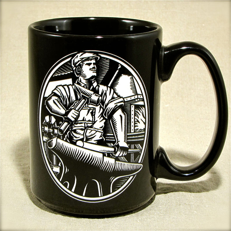 Blacksmith Coffee Mug with Fire Forge - Engraved Gift for Bladesmith,  - product image