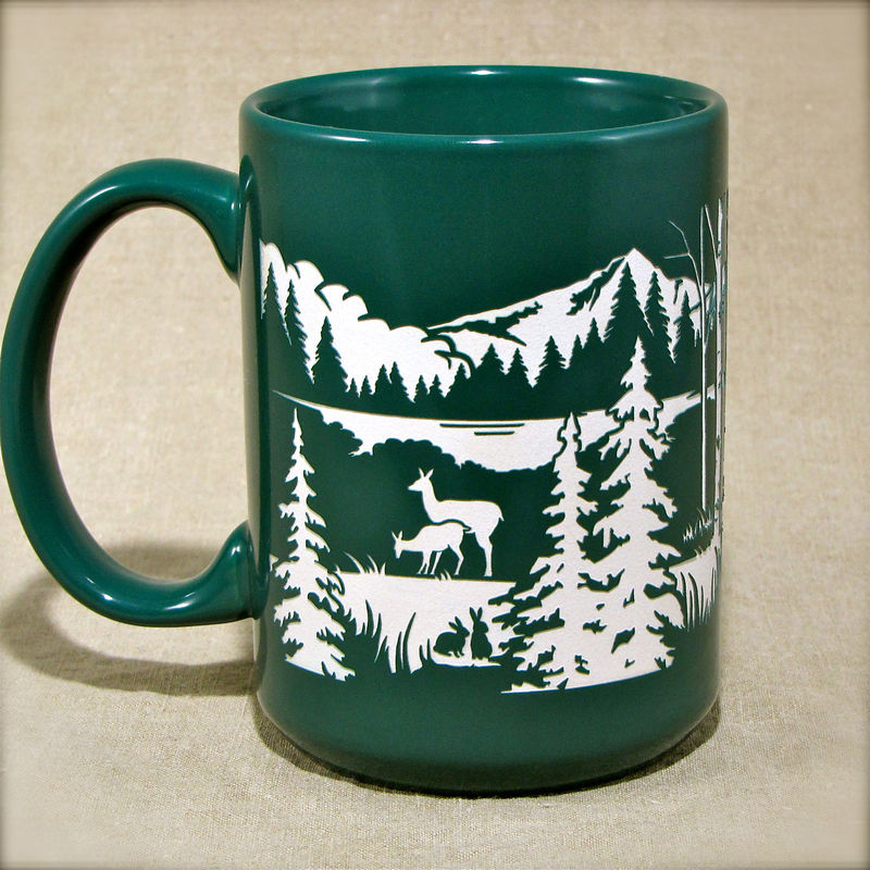 Mountain Cabin Coffee Cup - Personalized Engraved Gift with Bear, Deer, Rabbits - product image