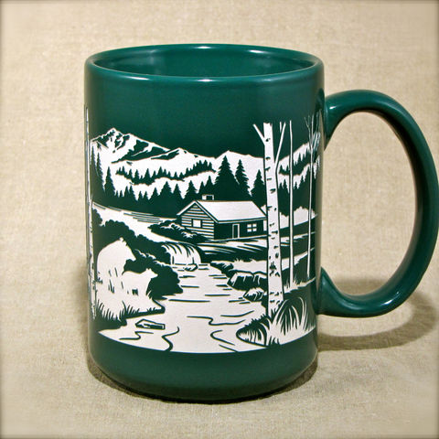 Mountain,Cabin,Coffee,Cup,-,Personalized,Engraved,Gift,with,Bear,,Deer,,Rabbits,Mountain Cabin Coffee Cup - Personalized Engraved Gift with Bear, Deer, Rabbits, Coffee Mug, blue black green