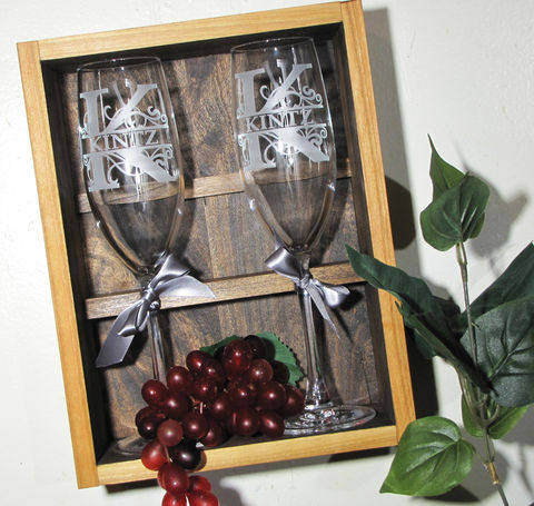 Personalized,Champagne,Flute,Storage,Display,Box,,Handmade,Wooden,Box,-,Alder,,with,Brass,Plate,for,Personalization,Personalized Champagne Flute Storage Display Box, Handmade Wooden Box - Alder, with Brass Plate for Personalization, gift for couple, bride and groom, toasting glasses