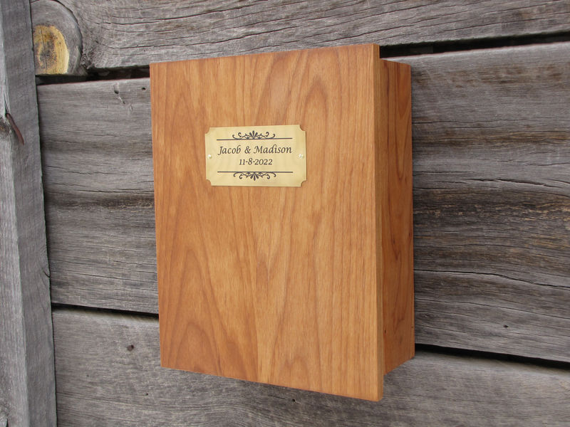 Personalized Champagne Flute Storage Display Box, Handmade Wooden Box - Alder, with Brass Plate for Personalization - product image