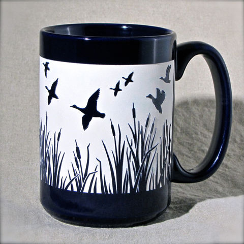 Duck,Migration,Coffee,Cup,-,Personalized,Engraved,Gift,Duck Migration Coffee Cup, Waterfowl, bird lover, duck hunter, fathers day gift, mothers day gift - Personalized Engraved Gift, Coffee Mug, blue black green