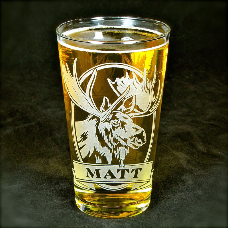 1 Personalized Jackalope with Etched Glass Pint Glass, Christmas Gift Beer Glass - product image