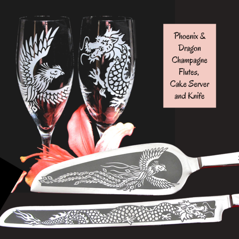 Personalized,Phoenix,and,Dragon,Wedding,Set,,Champagne,Flutes,Cake,Server,Knife,,Asian,Chinese,Phoenix and dragon, Chinese wedding, asian, feng shui, personalized bespoke,  toasting glasses, champagne flutes, wedding cake server set