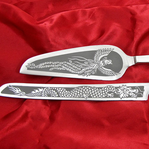 Wedding,Cake,Server,and,Knife,Set,,Personalized,Phoenix,Dragon,for,Chinese,Asian,Asian wedding, Chinese wedding, phoenix and dragon, yin yang, feng shui, Wedding Cake Server and Knife Set, Personalized