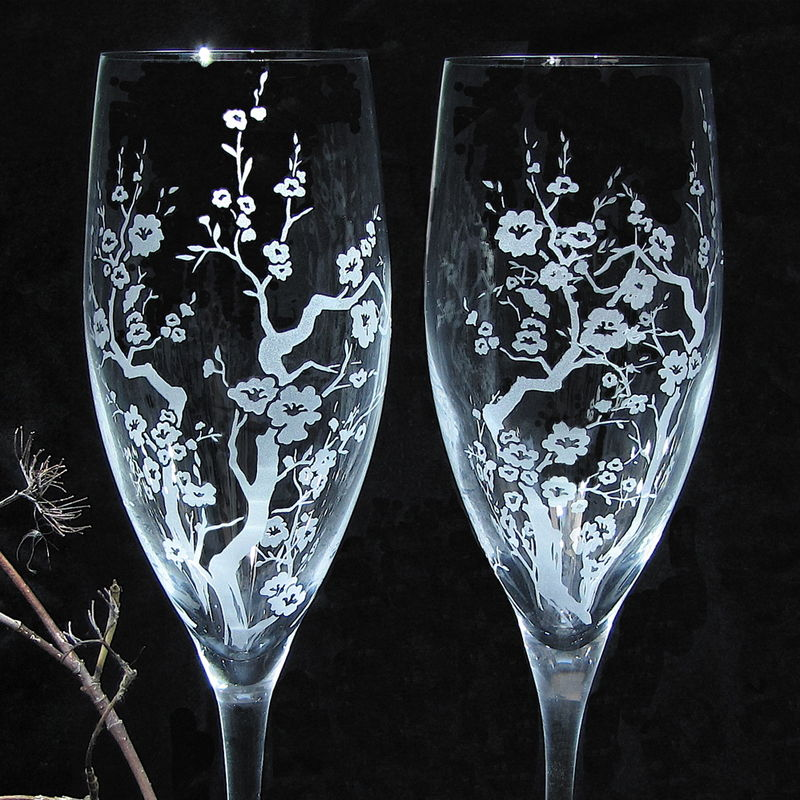 2 Cherry Blossom Champagne Flutes, Personalization Available - product image