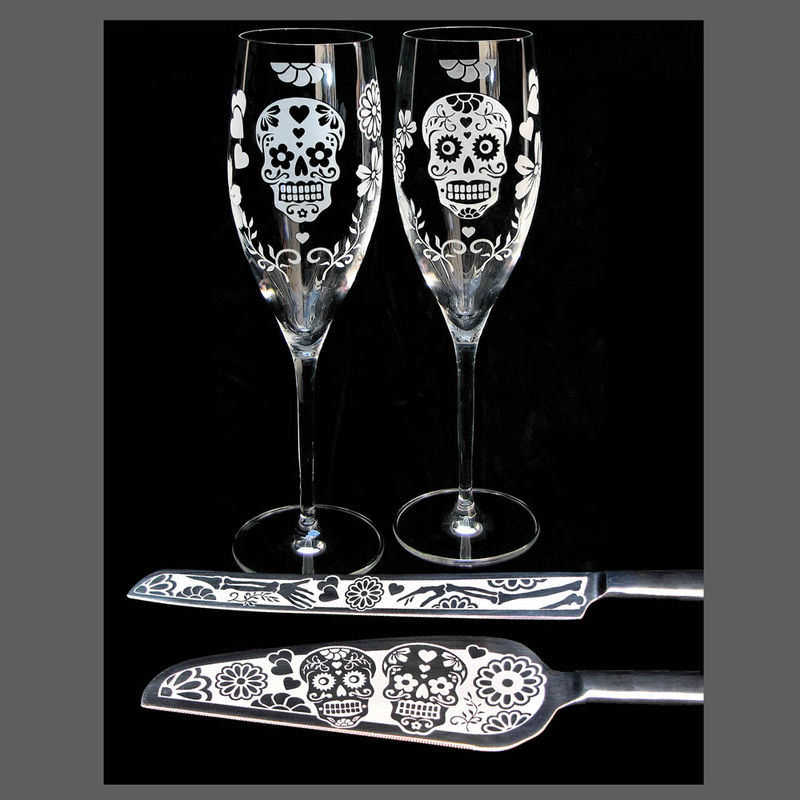 Sugar Skull Wedding Cake Server and Knife Set, Day of the Dead Wedding - product image