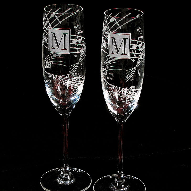 2 Music Themed Wedding, Personalized Champagne Flutes, Music Note Wedding Champagne Glasses - product image