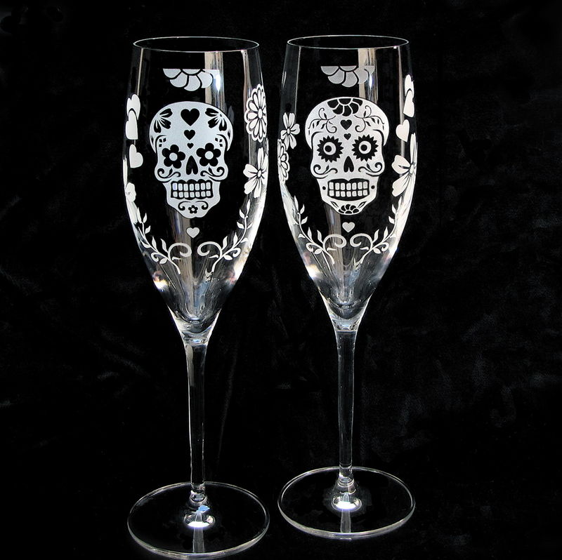Day Of The Dead Wedding Cake Server Set And Champagne Flutes Dia De Los Muertos