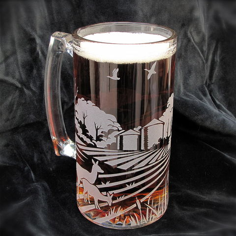 Rustic,Farm,Scene,Beer,Stein,,Wedding,,Barn,Wedding,rustic farm scene beer stein, beer mug, ranch style, barn mug, rustic wedding, barn wedding