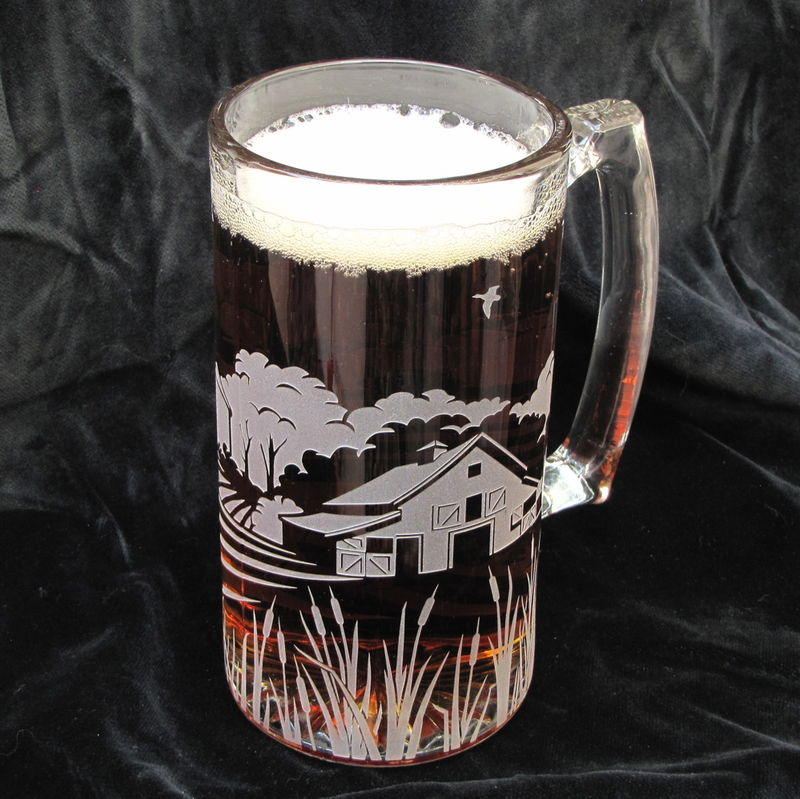 Rustic Farm Scene Beer Stein, Rustic Wedding, Barn Wedding - product image