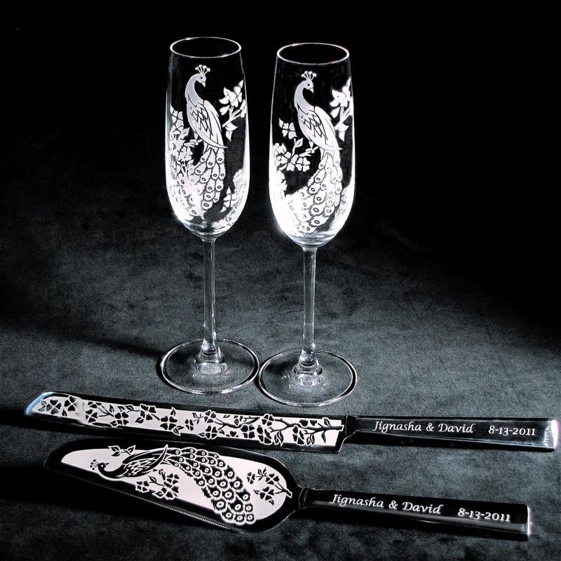 Personalized Peacock Wedding Cake Server & Knife Set - product image