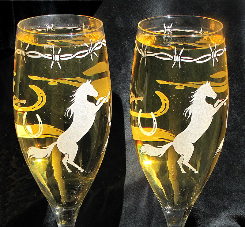 Personalized Cowboy Wedding Champagne Flutes, Western Horse Themed Wedding - product image