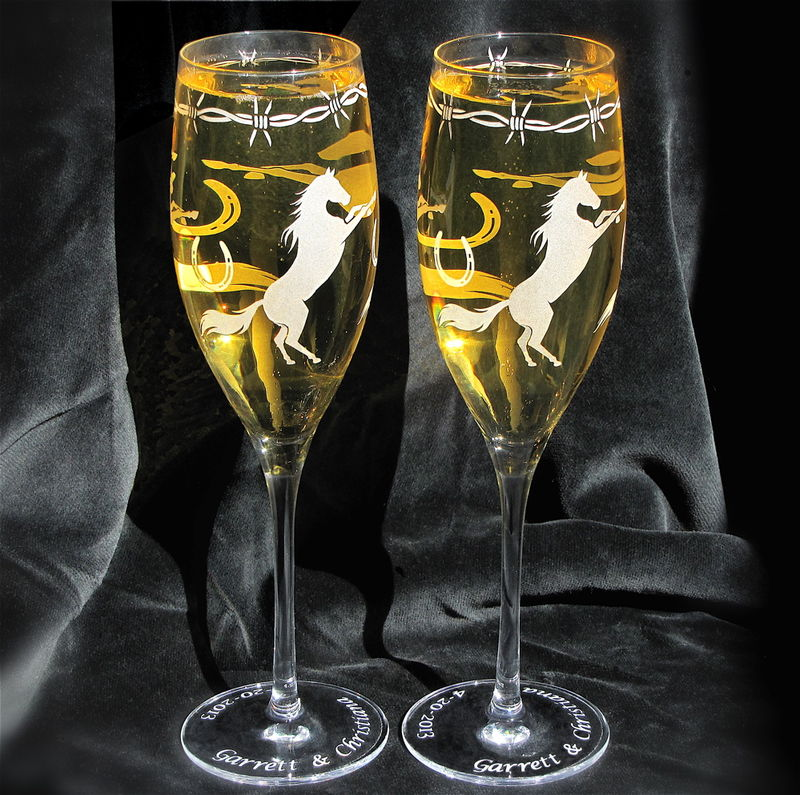 Personalized Cowboy Wedding Champagne Flutes, Western Horse Themed Wedding - product images  of