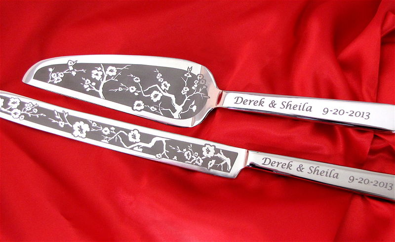 engraved wedding cake server set personalized cherry blossom wedding cake server and knife 14034