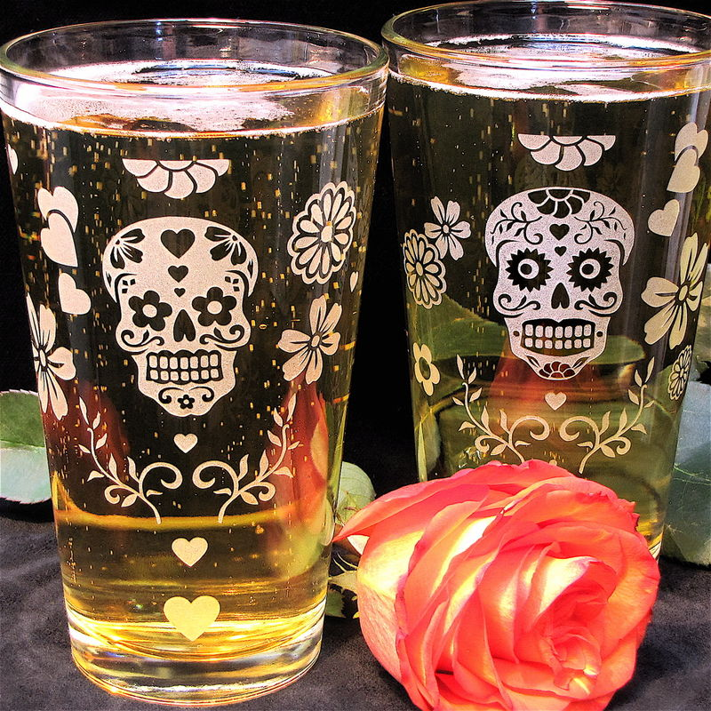 2 Sugar Skull Pint Glasses, Dia De Muertos Beer Glasses, Etched Glass - product image