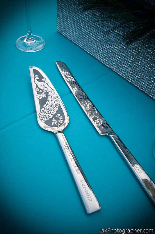 Peacock Wedding Cake Server and Knife, Champagne Flute Set Personalized and Engraved  - product images  of