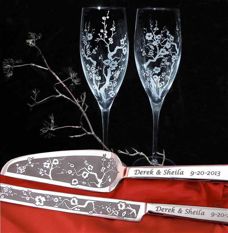 Personalized Cherry Blossom Wedding Cake Server and Champagne Flute Set - product image