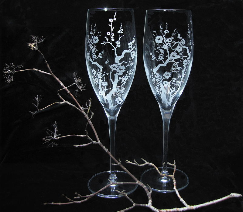 Personalized Cherry Blossom Wedding Cake Server and Champagne Flute Set - product images  of