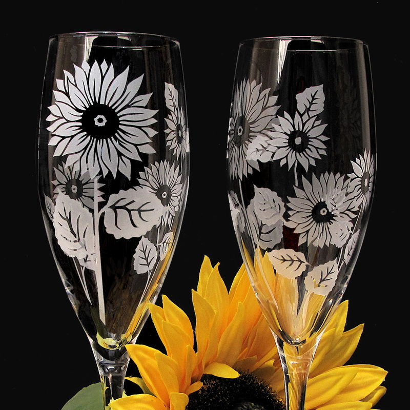 Personalized Sunflower Champagne Flutes Summer Wedding - product image