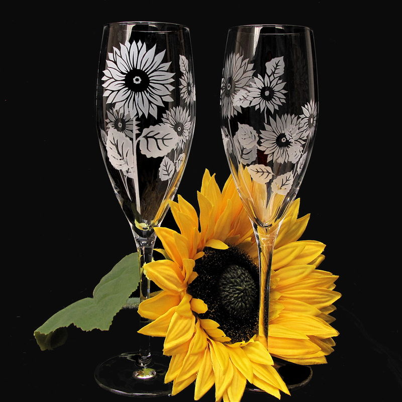 Personalized Sunflower Wedding Cake Server and Champagne Flute Set - product image