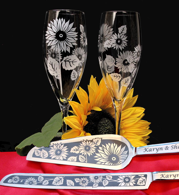 Personalized Sunflower Wedding Cake Server and Champagne Flute Set - product images  of