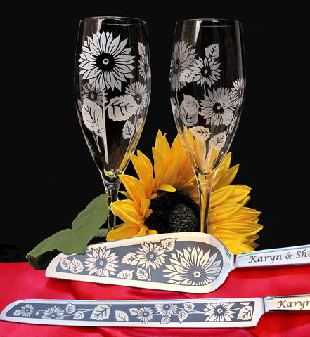 Personalized,Sunflower,Wedding,Cake,Server,and,Champagne,Flute,Set,Weddings,personalized,engraved,champagne_flutes,toasting_flutes,cake_server_set,Wedding_cake_server,Engraved_wedding,Engraved_cake_server, sunflower, sunflower wedding, rustic, country, summer wedding