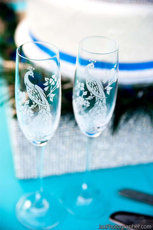 2 Champagne Flutes, Peacock Wedding Toasting Flutes, Personalized - product image
