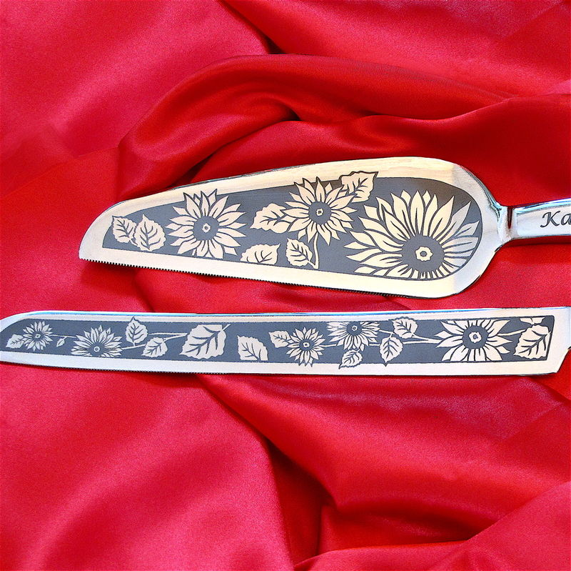 Personalized Sunflower Wedding Cake Server & Knife Set, Summer Wedding, Fall Wedding - product image