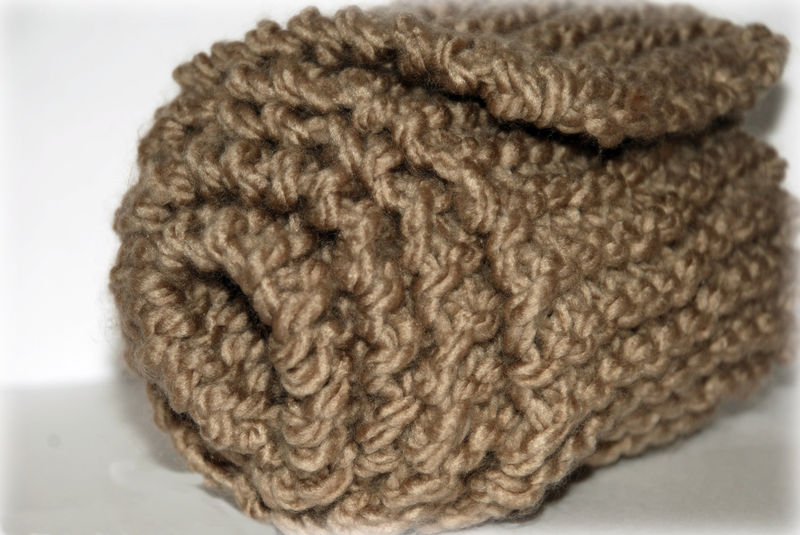 Taupe Dog Scarf Hand Knit for Medium to Large Breeds - product images  of