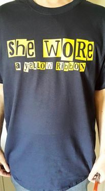 She,Wore,A,Yellow,Ribbon,-,T-shirt,(Navy),Arsenal t-shirt, she wore a yellow ribbon, she wore
