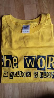 She,Wore,A,Yellow,Ribbon,-,T-shirt,(yellow),Arsenal t-shirt, she wore a yellow ribbon, she wore