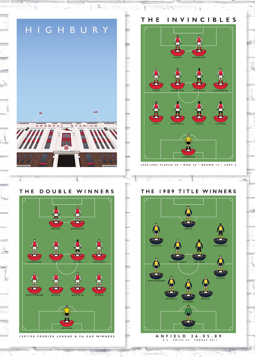 Posters - Highbury + 89, 98, invincibles Subbuteo - product image