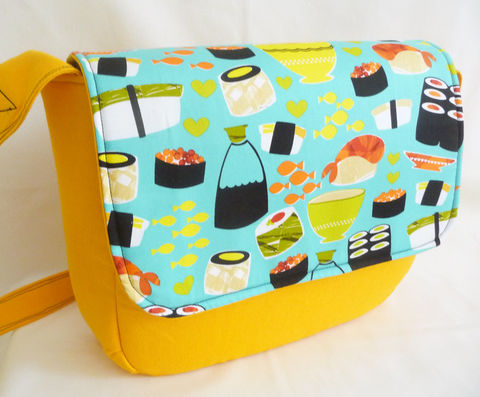 Bright,Yellow,Canvas,and,Sushi,Messenger,Bag,,Padded,handmade messenger bag, yellow canvas messenger bag, padded massenger bag, laptop messenger bag, sushi print messenger bag
