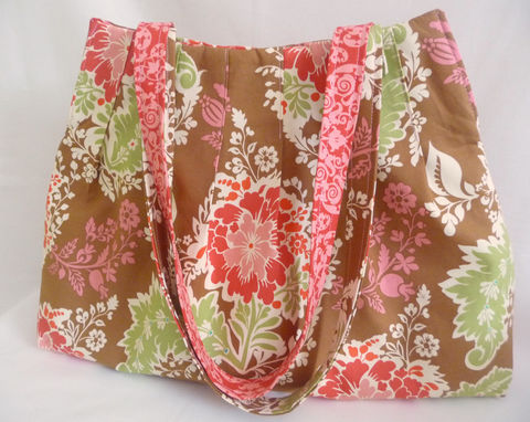 Secret,Garden,Pleated,Floral,Tote,Bag,pleated tote bag, handmade knitting bag, floral knitting project bag, handmade pleated tote, secret garden tote bag, floral tote