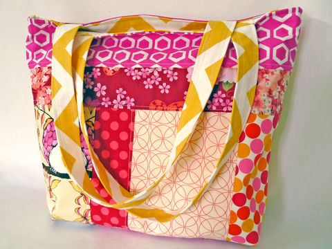 Yellow,Chevron,Reversible,Patchwork,Tote,bag,handmade tote bag, reversible tote bag, patchwork bag, yellow chevron tote bag, pink patchwork bag