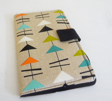 Nexus,7,Cover,,Book,Style,,Mid,Century,Modern,Geometric,cover for 2013 Nexus 7, handmade nexus 7 tablet cover, Mid century modern style fabric cover, book style cover for nexus 7
