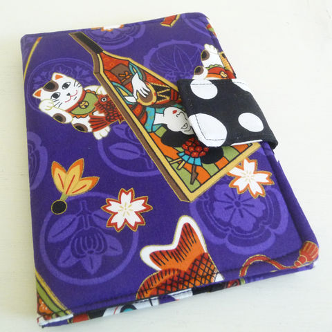 Maneki,Neko,Kindle,4,or,5,,Voyage,Kobo,Touch,Cover,,Purple,Lucky,Cat,kindle voyage cover, kindle 4 or 5 cover, handmade kindle 4 cover, book style cover for kobo touch, kobo touch cover, purple cover for kobo touch, lucky cat print kobo cover, maneki neko kobo touch case