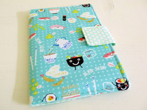 Yeah,Sushi,Nook,eReader,Cover,book style cover for original nook, nook ereader cover, nook case, handmade nook cover, sushi print nook cover, yeah sushi ereader cover
