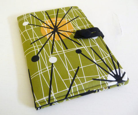 Olive,Green,Mid,Century,Modern,Style,Nook,HD,Cover,nook hd cover, nook had case, handmade nook hd cover, mid century modern style nook cover, book style nook hd cover