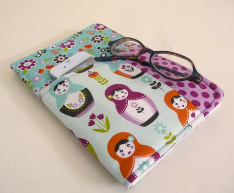 Little,Matryoshka,Nook,HD,Cover,with,front,pocket,nook hd cover, nook had case, handmade nook hd cover, little matryoshka nook hd cover, cute nook hd cover