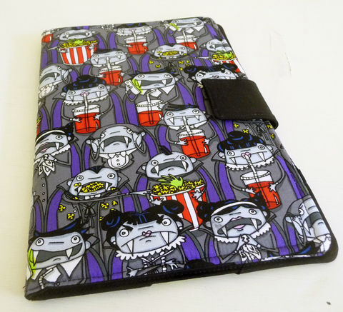 Nook,HD,Plus,Cover,,Fun,Vampire,Themed,Fabric,nook hd plus cover, handmade nook hd plus cover, vampire nook hd plus cover, vampires at the movies