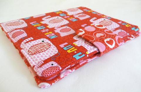 Cute,Red,and,Pink,Elephant,Cover,for,Nook,Simple,Touch,cute nook touch cover, cute elephants, elephant, nook simple touch cover, cute red and pink cover for nook glow, handmade cover for nook touch, book style